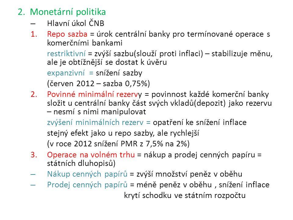 2. Monetární politika Hlavní úkol ČNB