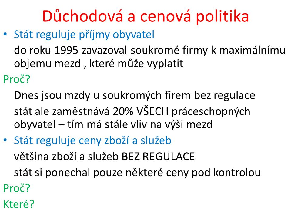 Důchodová a cenová politika