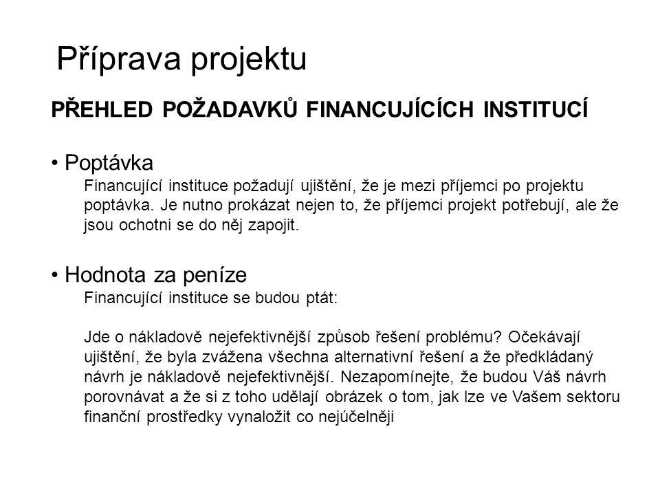Příprava projektu PŘEHLED POŽADAVKŮ FINANCUJÍCÍCH INSTITUCÍ Poptávka