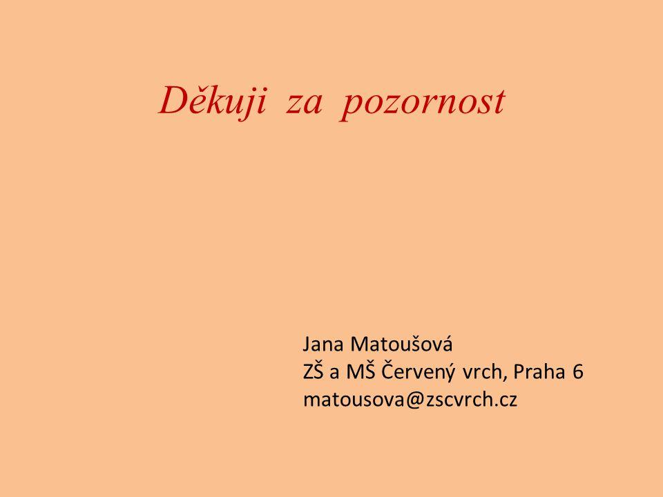 Děkuji za pozornost Jana Matoušová ZŠ a MŠ Červený vrch, Praha 6