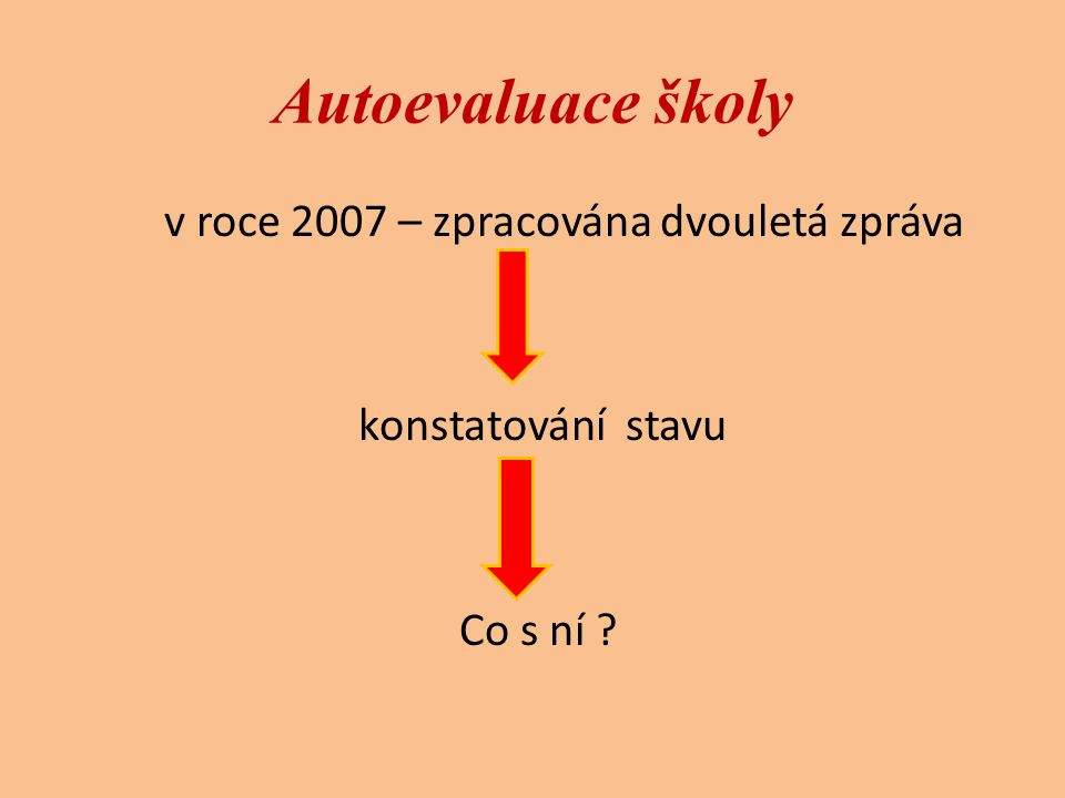 v roce 2007 – zpracována dvouletá zpráva konstatování stavu Co s ní