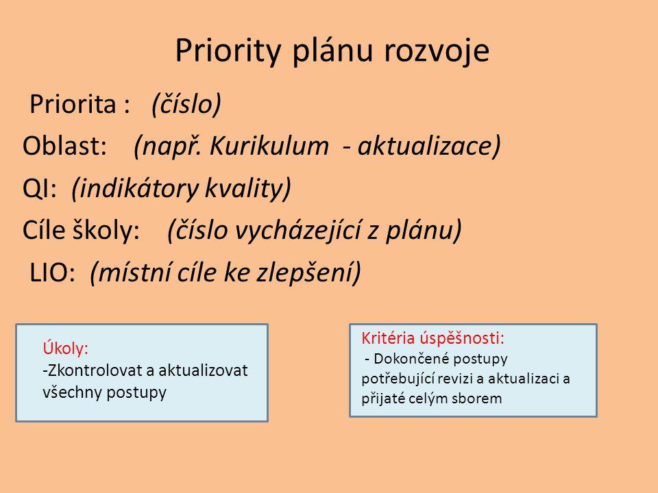 Priority plánu rozvoje