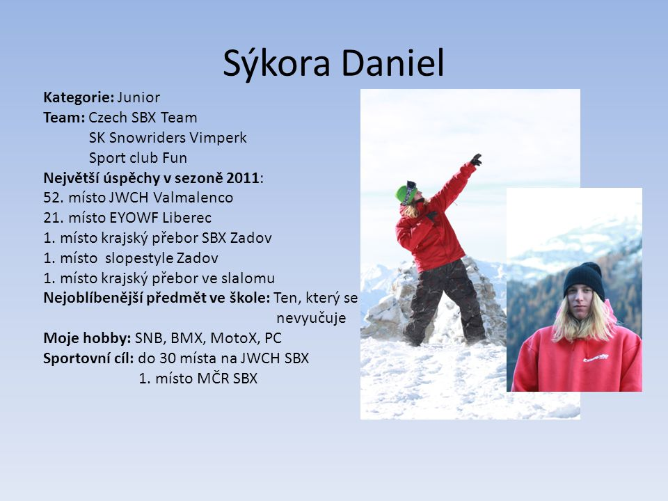Sýkora Daniel Kategorie: Junior Team: Czech SBX Team