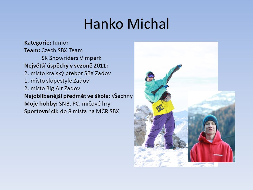Hanko Michal Kategorie: Junior Team: Czech SBX Team