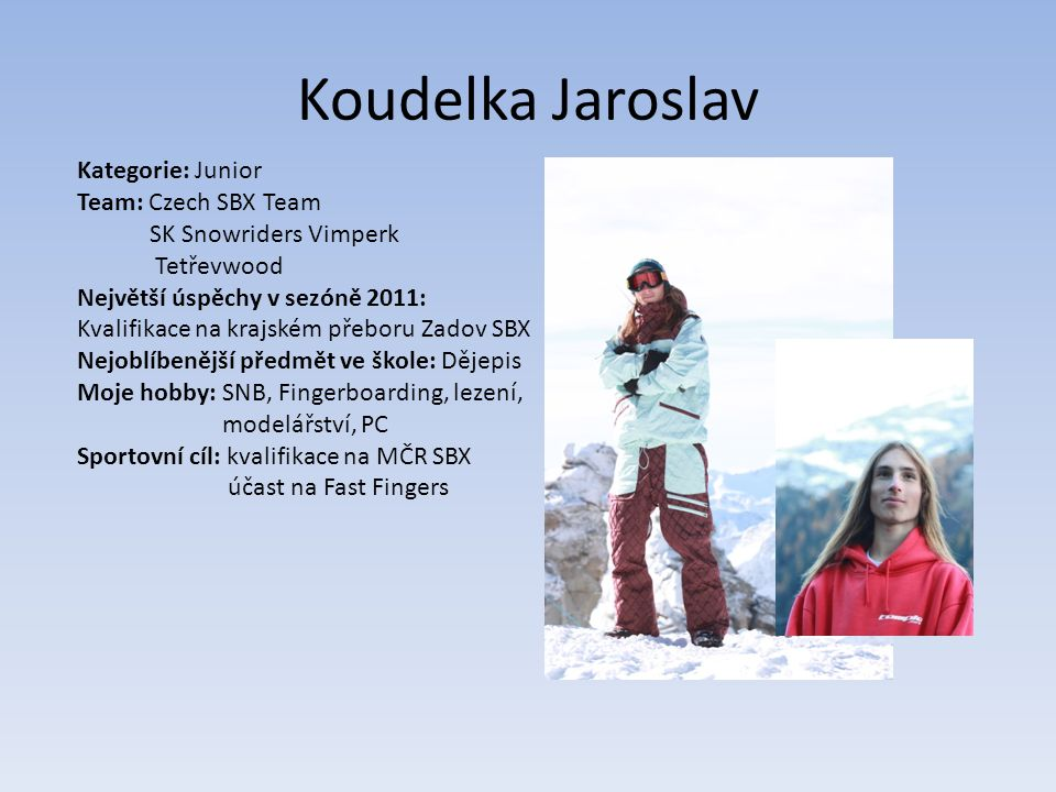 Koudelka Jaroslav Kategorie: Junior Team: Czech SBX Team
