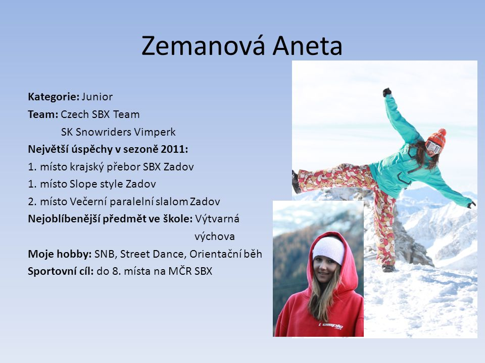 Zemanová Aneta Kategorie: Junior Team: Czech SBX Team