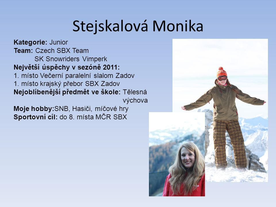 Stejskalová Monika Kategorie: Junior Team: Czech SBX Team