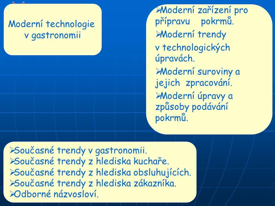 Moderní technologie v gastronomii. Moderní zařízení pro přípravu pokrmů. Moderní trendy