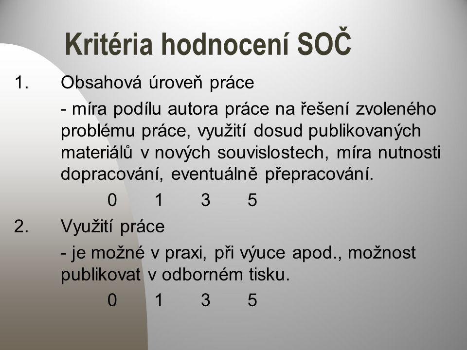 Kritéria hodnocení SOČ