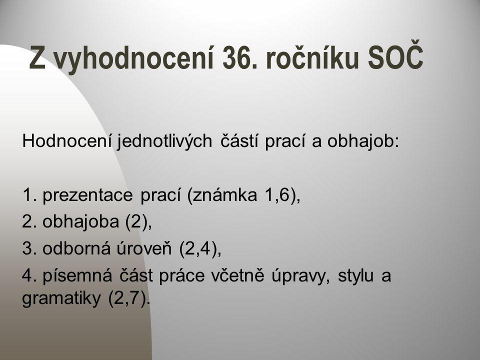 Z vyhodnocení 36. ročníku SOČ