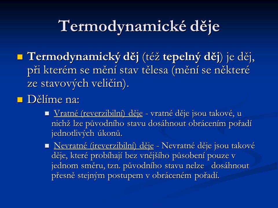 Termodynamické děje Termodynamický děj (též tepelný děj) je děj, při kterém se mění stav tělesa (mění se některé ze stavových veličin).