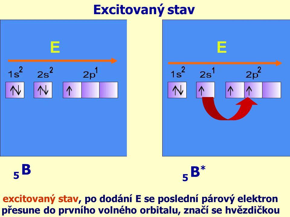 Excitovaný stav E. E. B. 5. B* 5. excitovaný stav, po dodání E se poslední párový elektron.