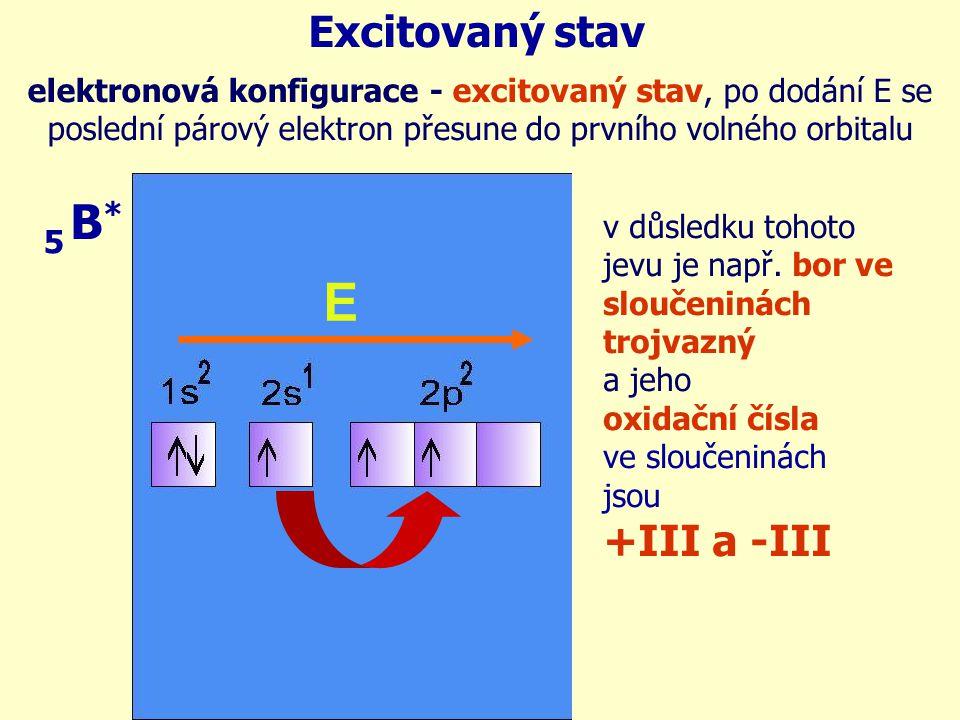 E B* Excitovaný stav +III a -III