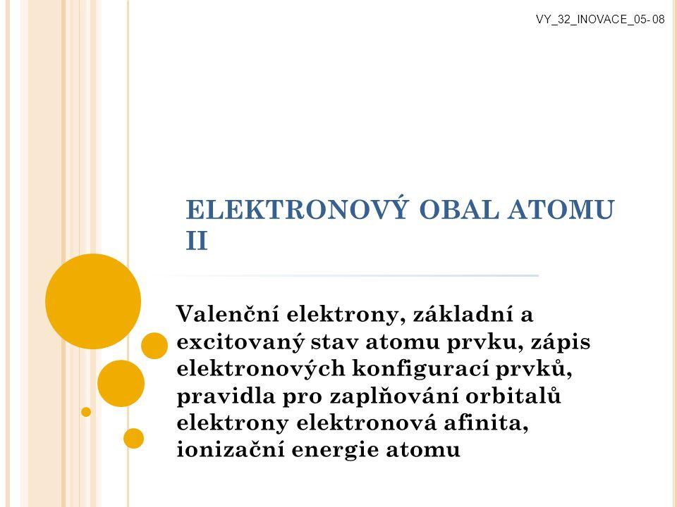 ELEKTRONOVÝ OBAL ATOMU II