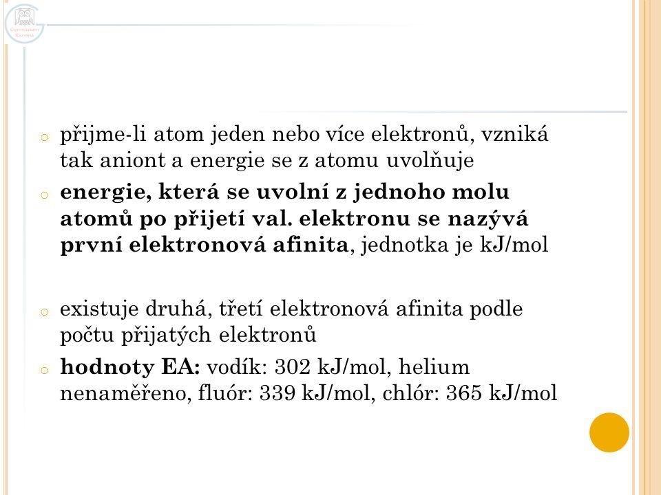 přijme-li atom jeden nebo více elektronů, vzniká tak aniont a energie se z atomu uvolňuje
