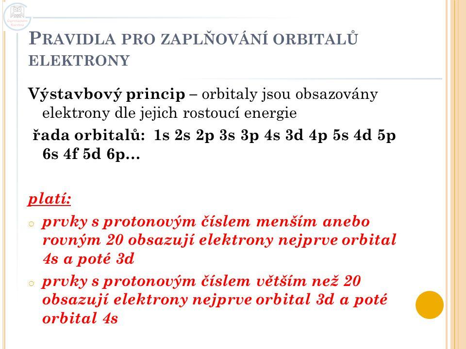 Pravidla pro zaplňování orbitalů elektrony