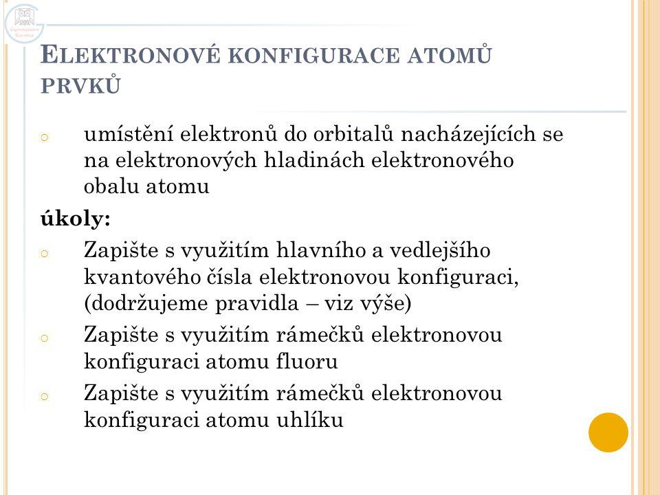 Elektronové konfigurace atomů prvků