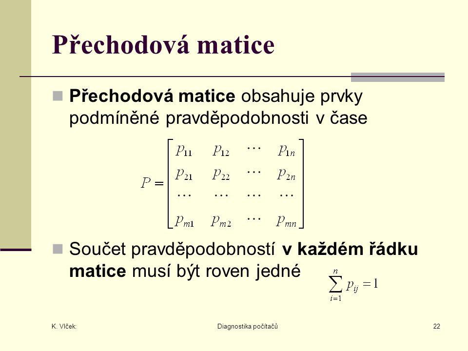 Přechodová matice Přechodová matice obsahuje prvky podmíněné pravděpodobnosti v čase.