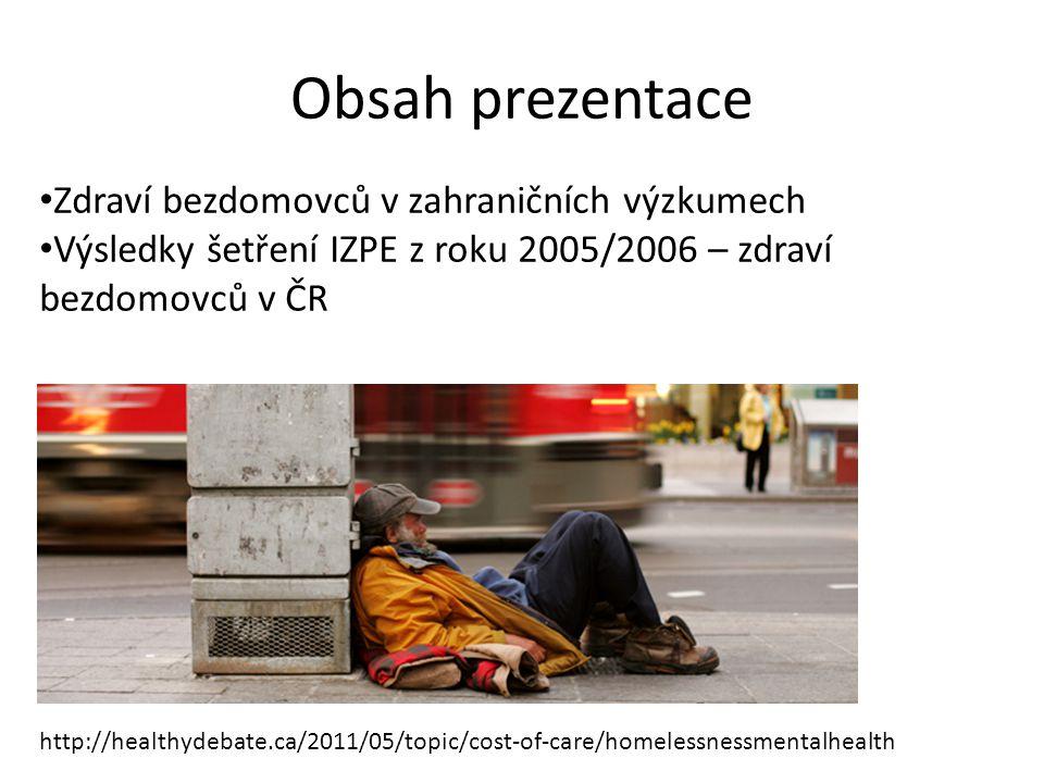 Obsah prezentace Zdraví bezdomovců v zahraničních výzkumech