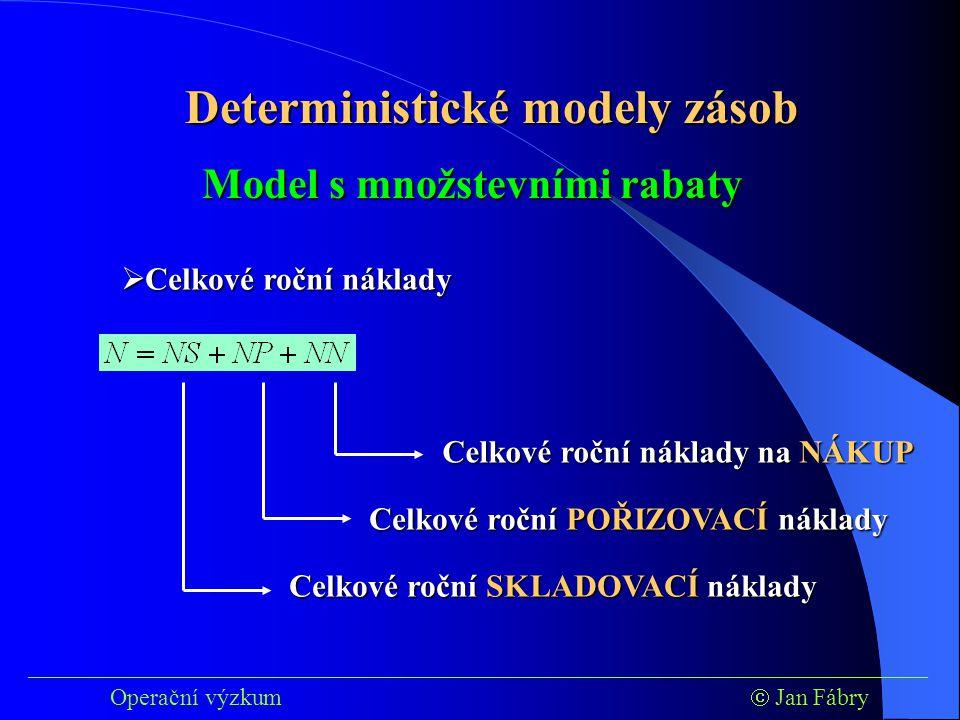 Deterministické modely zásob Model s množstevními rabaty