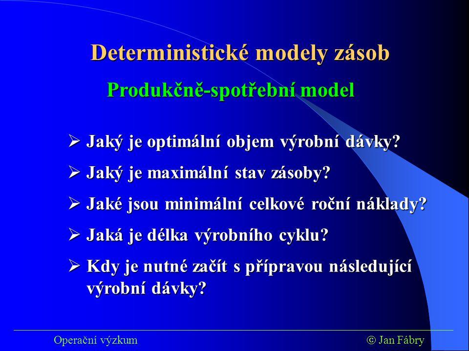 Deterministické modely zásob Produkčně-spotřební model
