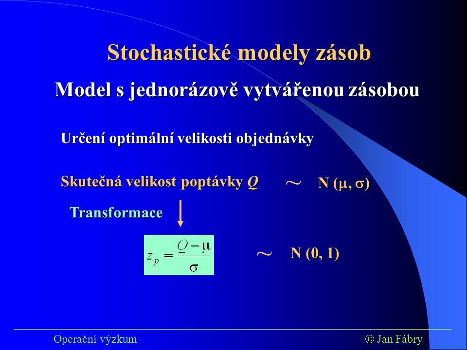 ~ ~ Stochastické modely zásob Model s jednorázově vytvářenou zásobou