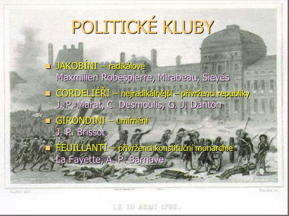 POLITICKÉ KLUBY JAKOBÍNI – radikálové Maxmilien Robespierre, Mirabeau, Sieyés.