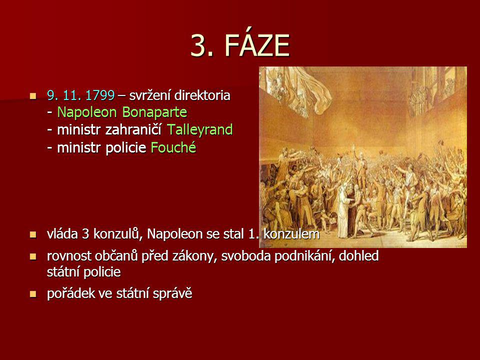 3. FÁZE 9. 11. 1799 – svržení direktoria - Napoleon Bonaparte - ministr zahraničí Talleyrand - ministr policie Fouché.