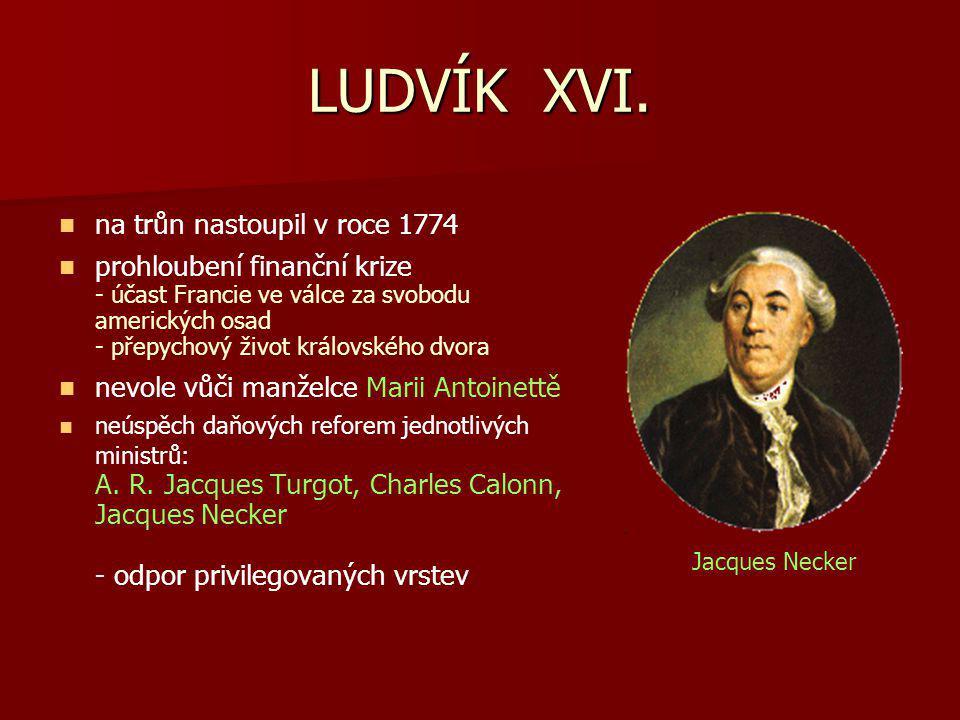 LUDVÍK XVI. na trůn nastoupil v roce 1774