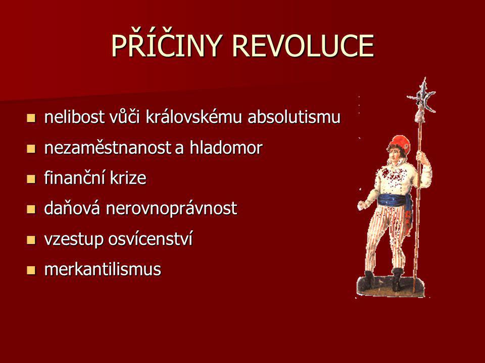 PŘÍČINY REVOLUCE nelibost vůči královskému absolutismu