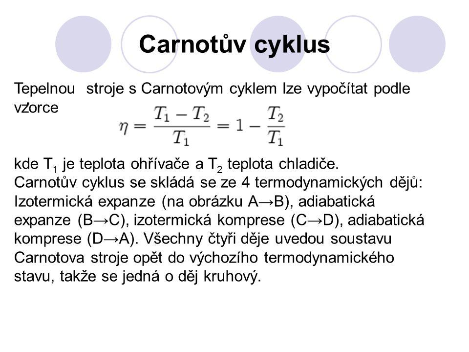 Carnotův cyklus Tepelnou stroje s Carnotovým cyklem lze vypočítat podle vzorce.