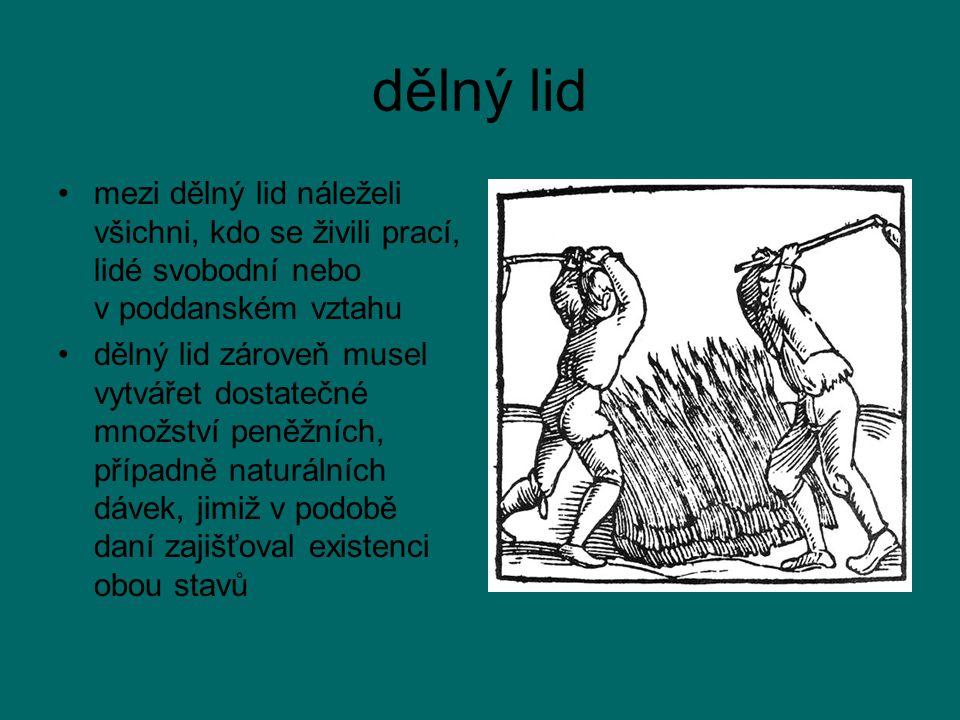 dělný lid mezi dělný lid náleželi všichni, kdo se živili prací, lidé svobodní nebo v poddanském vztahu.