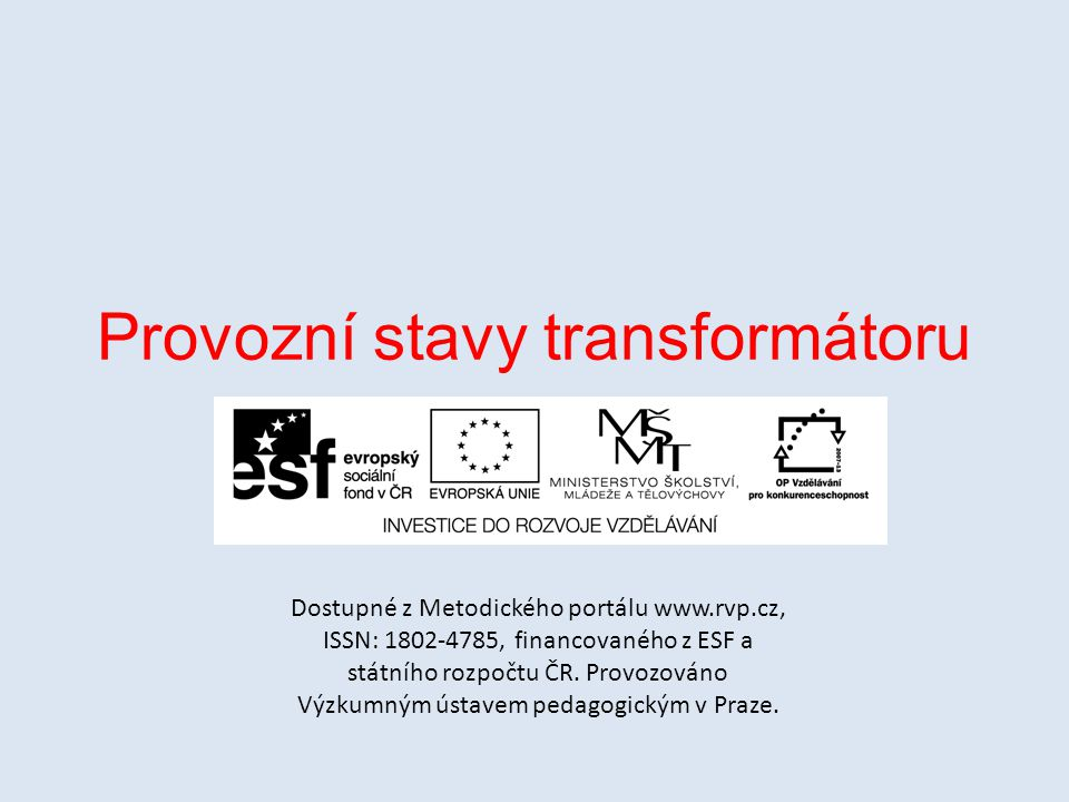 Provozní stavy transformátoru