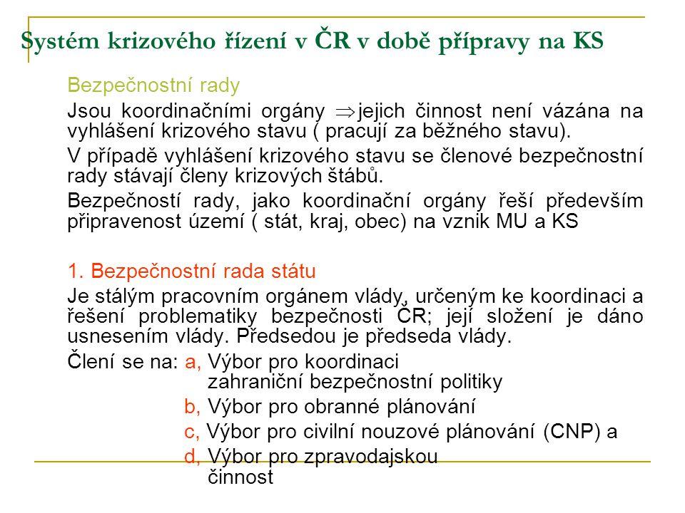 Systém krizového řízení v ČR v době přípravy na KS