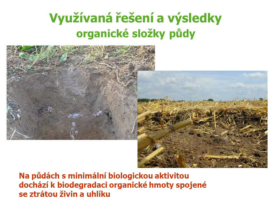 Využívaná řešení a výsledky organické složky půdy