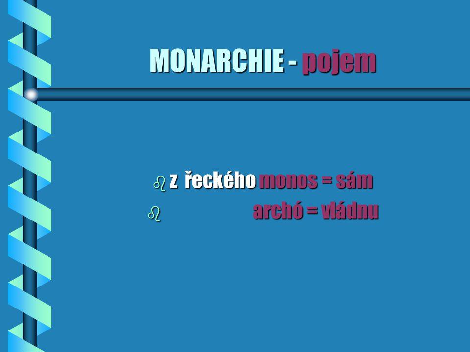 MONARCHIE - pojem z řeckého monos = sám archó = vládnu