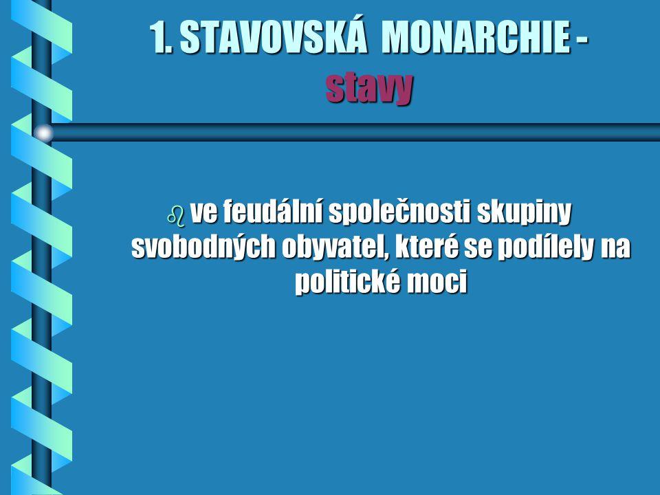 1. STAVOVSKÁ MONARCHIE - stavy