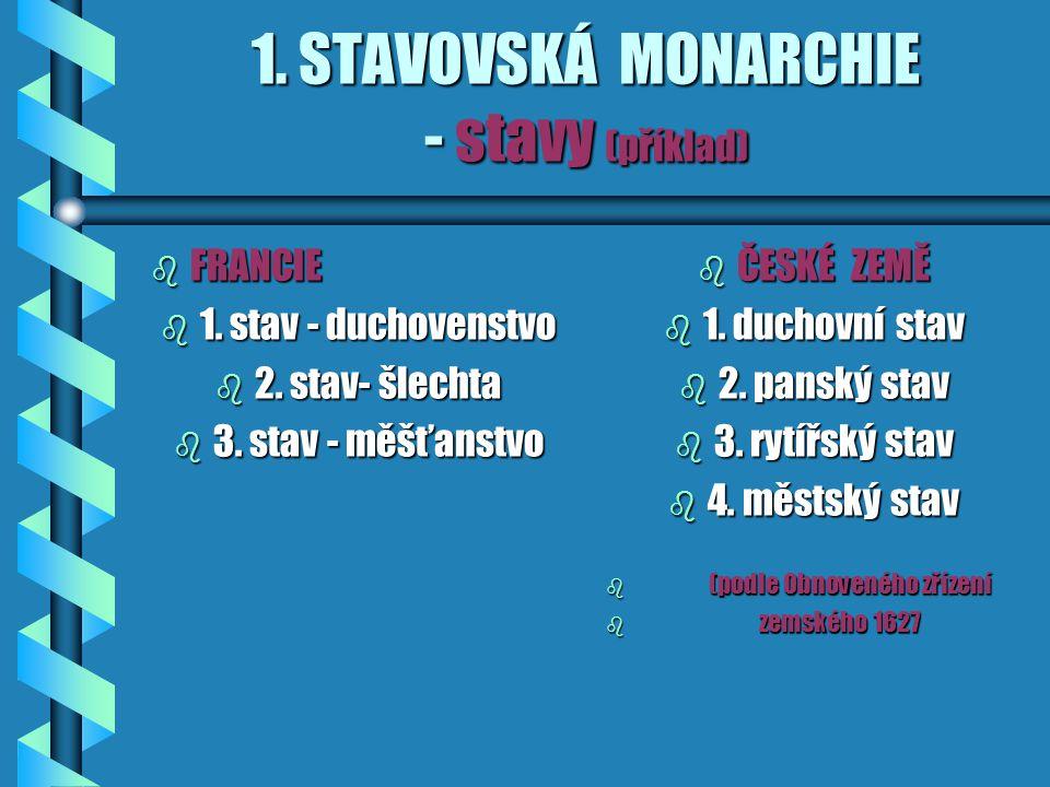 1. STAVOVSKÁ MONARCHIE - stavy (příklad)