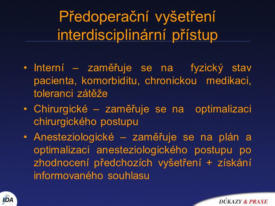 Předoperační vyšetření interdisciplinární přístup