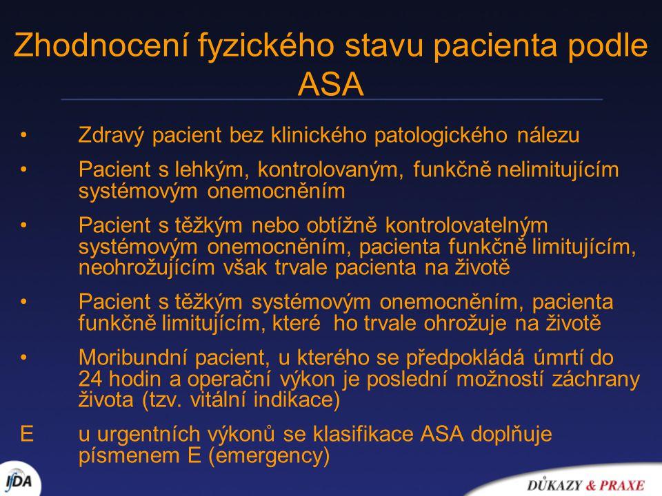 Zhodnocení fyzického stavu pacienta podle ASA
