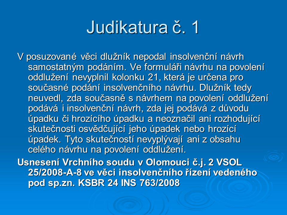 Judikatura č. 1