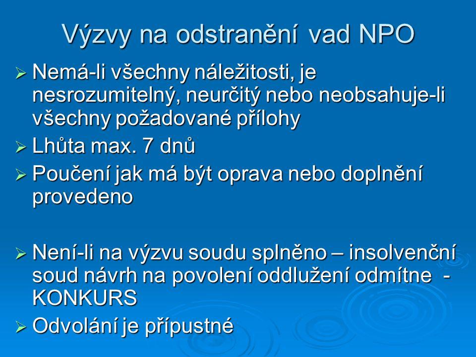 Výzvy na odstranění vad NPO