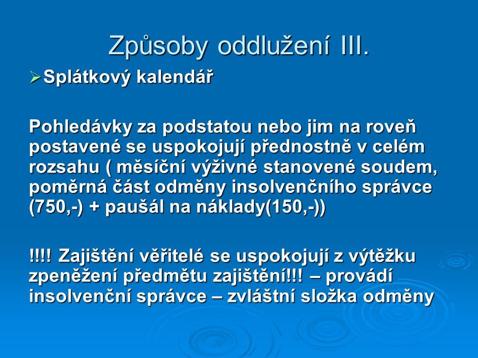 Způsoby oddlužení III. Splátkový kalendář