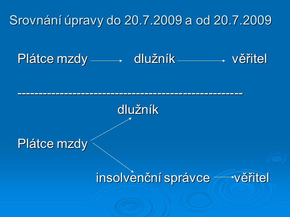 Srovnání úpravy do 20.7.2009 a od 20.7.2009 Plátce mzdy dlužník věřitel.