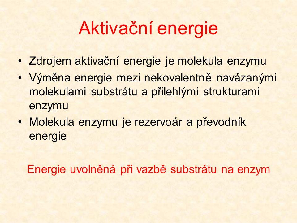 Energie uvolněná při vazbě substrátu na enzym
