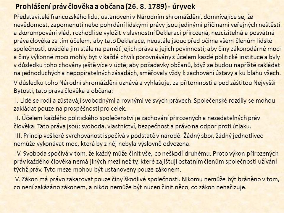 Prohlášení práv člověka a občana (26. 8. 1789) - úryvek