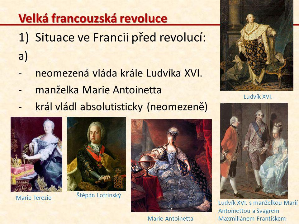 Velká francouzská revoluce Situace ve Francii před revolucí:
