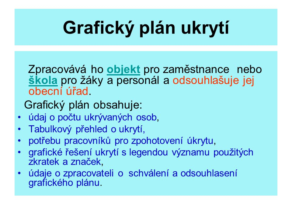 Grafický plán ukrytí Grafický plán obsahuje: