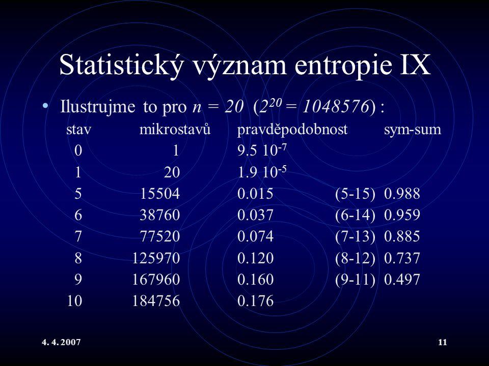Statistický význam entropie IX