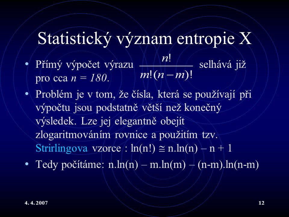 Statistický význam entropie X